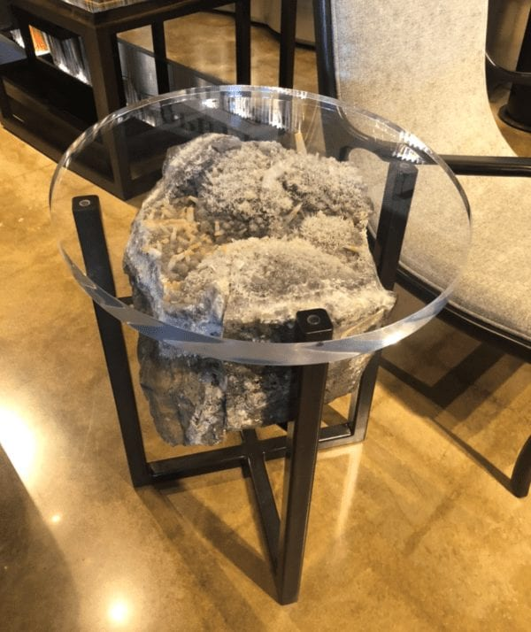 William and Wesley Acrylic and Steel Mineral Side Table