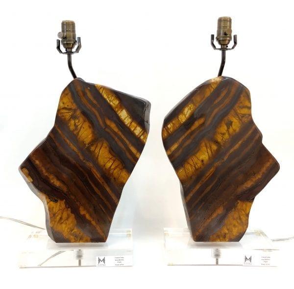 Petrified Wood Lamp Pair (Adjustable Height)