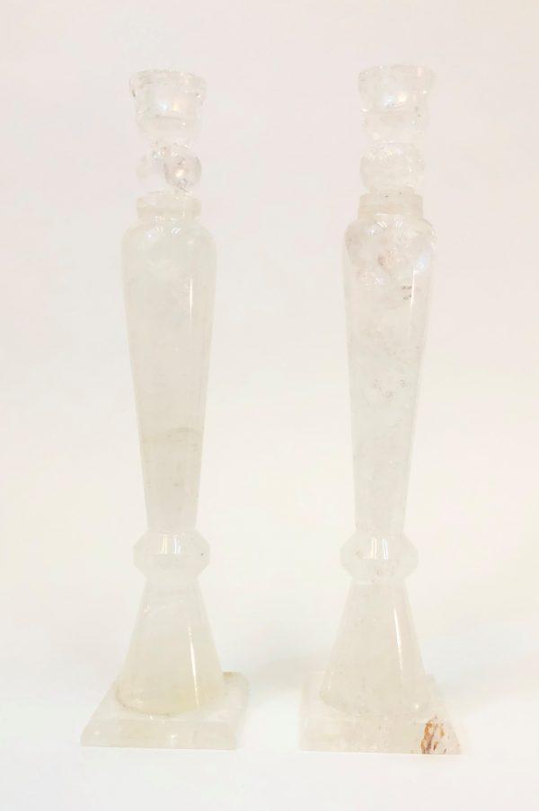 Quartz Candle Holders Pair